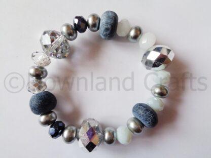 Monochrome Agate Kathy Stretch Bracelet 1