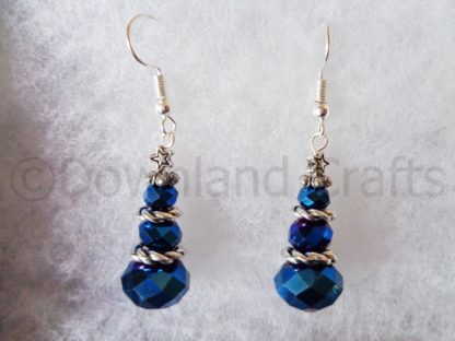 Deep Blue Crystal Tree Earrings