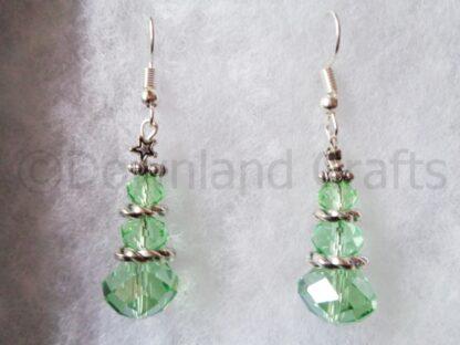 Green Crystal Tree Earrings