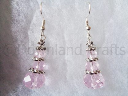 Pink Crystal Tree Earrings