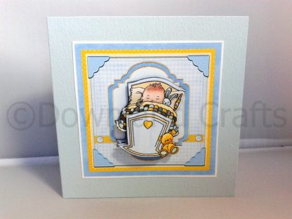 "5"" Square Baby Boy in Crib Card"