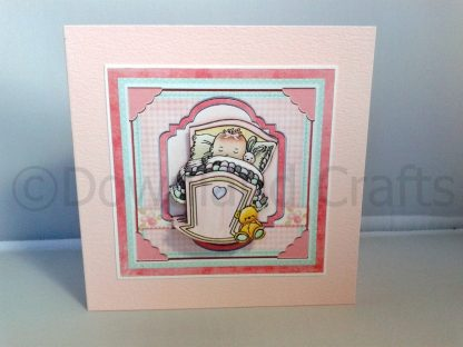 "5"" Square Baby Girl in Crib Card"