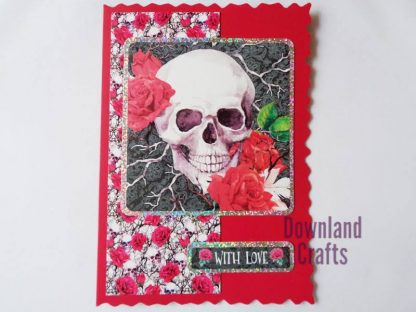 A5 Red Floral Skull Card