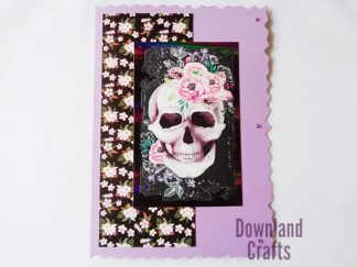 A5 Lilac Floral Skull Card