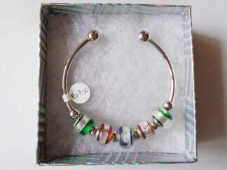 Silver Striped Bead Paula Cuff Bracelet