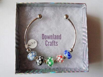 White Dot Bead Paula Cuff Bracelet