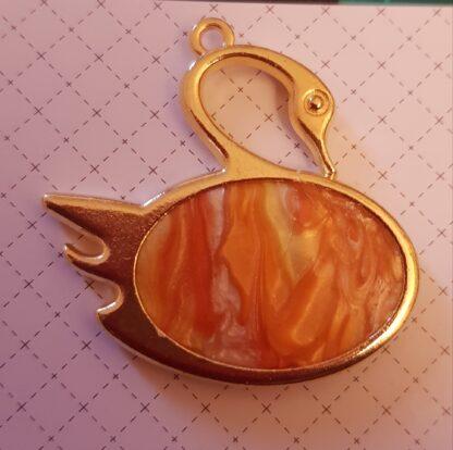 Orange Marbled Swan Pendant