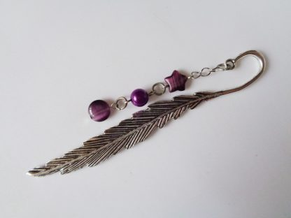 Feather Bookmark Large Purple Mixed