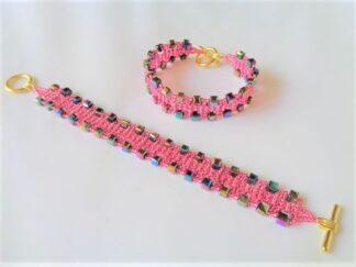 Crystal Cube Bracelet - Pink